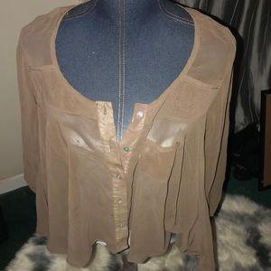 Tops - Tan sheer flowing blouse
